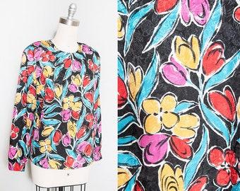 Vintage 1980's | Colorful | Floral | Pullover | Blouse | M/L