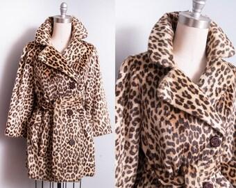 Vintage 1960's | Faux Fur | Large Collar | Leopard | Animal Print | Coat | S