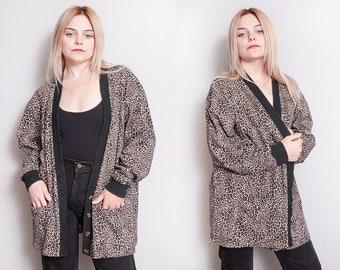 Vintage 1980's | Liz Claiborne | Oversized | Leopard | 100% Cotton | Cardigan | OS or SML