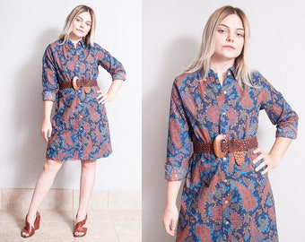 Vintage 1960's | Paisley | Button Down | Patterned | Shirt Dress | M