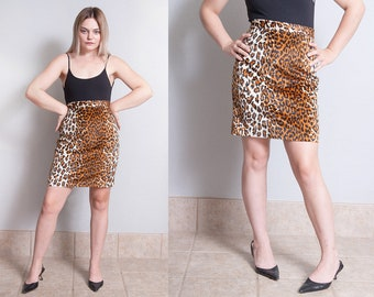 Vintage 1980's | New with Tags | Leopard | Animal Print | Mini | Skirt | S