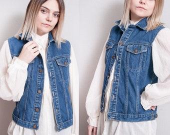 Vintage 1980's | Calvin Klein | Medium Wash | Denim | Jean | Vest | S/M