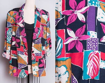 Vintage 1980's | Bright & Colorful | Floral | Printed | Lightweight | Blazer | OS or L