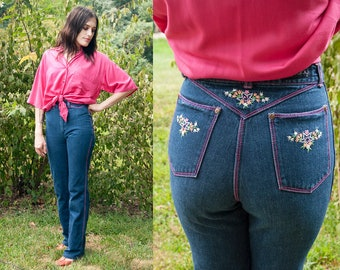 Vintage 1970's | Faded Glory | Dark Wash | Pink Stitching | Floral Embroidered Pockets | Straight Leg | Skinny | High Rise | Jeans | XS