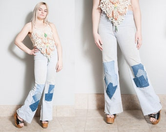 Vintage 1970's | Faded Glory | Light Wash | Patched | Distressed | High Rise | Bell Bottoms | XS