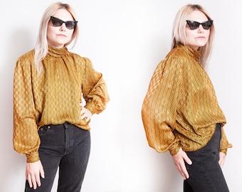 Vintage 1970's | Yellow & Black | Printed | Pattern | Blouse | M