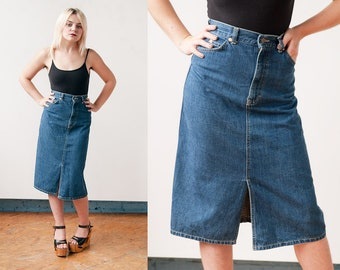 Vintage 1980's | LEE | Denim | Jean | Pencil Skirt | Medium Wash | 5 Pocket | XS