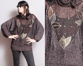Vintage 1970's/1980's | OS | Dolman Sleeve | Metallic | Embellished | Lightweight Knit | Sweater | SML