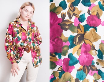 Vintage 1990's | OS | 100% Silk | Button Down | Floral | Blouse | OS or SML