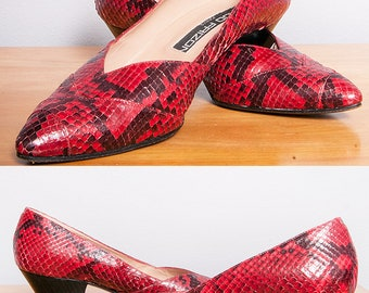 Vintage 1980's | Red | Snakeskin | MAUD FRIZON PARIS | Heels | Pumps | Size 7