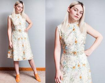 Vintage 1960's   Floral   Tiger Lily   100% Cotton   Shift   Sleeveless   Dress   L