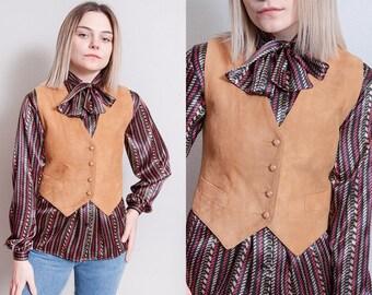 Vintage 1980's | Liz Claiborne | Tan | Soft Suede | Fitted | Cropped | Vest | XS