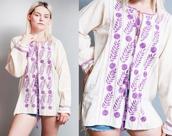Vintage 1970's | Ivory | Cotton | Gauze | Purple | Floral | Hand Embroidered | Top | Tassel | Blouse | SML