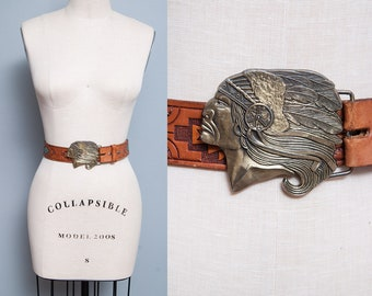 Vintage 1970's | Brass | Native American Belt Buckle | Hand Painted | Leather | Tooled | Belt | Unisex | Size 38
