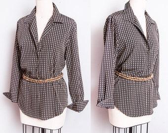 Vintage 1970's | Black & Tan | Geometric Pattern | Printed | Button Down | Blouse | Top | M