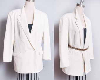 Vintage 1990's | Esprit | Double Breasted | Winter White | Long Body | Blazer | OS or M