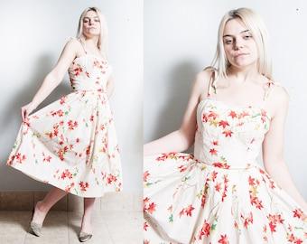 Reserved - Vintage 1950's | Kamehameha | Cotton | Fit & Flare | Hawaiian | Leaf Motif | Dress | S