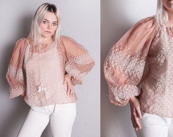 Vintage 1970's | Sheer | Embroidered | Tassel | Boho | Top | Oversized | SML