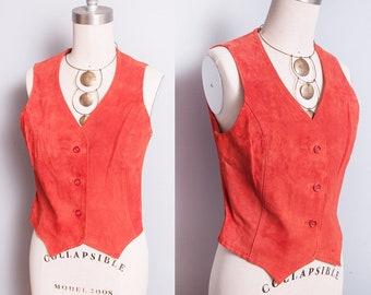 Vintage 1970's   Orange   Suede   Fitted   Vest   S
