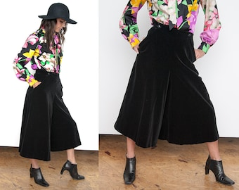 VTG 1970's | Anne Klein | Black Velvet | Super Wide Leg | Culottes | S
