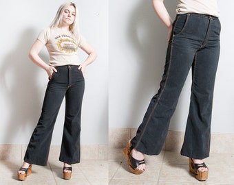 Vintage 1970's | Red Snap | Black | Cotton | High Rise | High Waist | Flares | XS/S