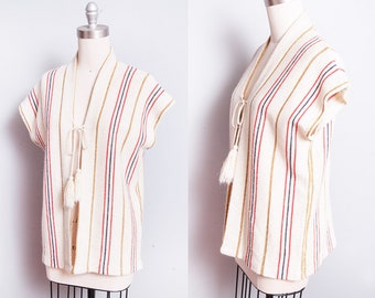 Vintage 1970's | Cream | Striped | Knit | Metallic Threading | Sweater | Poncho | S/M