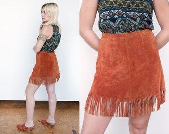 Vintage 1970's | Brown | Fringe | Mini | Boho | Skirt | M