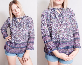 Vintage 1970's | Floral | India Cotton | Top | Bohemian | Blouse | S/M