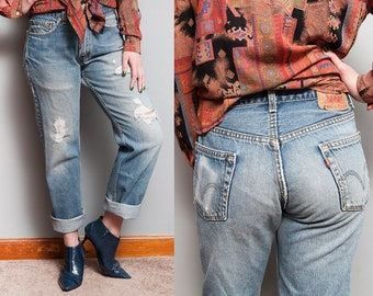Vintage 1990's | 505 | LEVI'S | Distressed | Faded | Denim | Boyfriend | Jeans | 5 Pocket | M