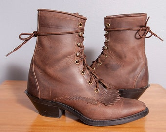 Vintage 1980's/1990's | Brown | Leather | Laredo | Western | Boots | Size 7