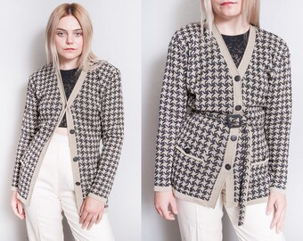 Vintage 1990's | Liz Claiborne | Houndstooth | Cardigan | Sweater | NWT | Never Worn | M