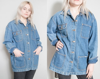 Vintage 1990's | Oversized | Denim | Bill Blass | Choir | Lightweight | Jean | Unisex | Jacket | SML