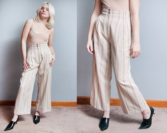 Vintage 1980's | Ernestina Cerini | Printed | Wide Leg | High Waist | Pants | Made in Italy | S