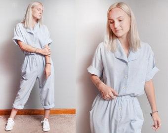 Vintage 1980's | Blue & White | Pinstripe | Jumpsuit | Coveralls | Jumper | Playsuit | S/M