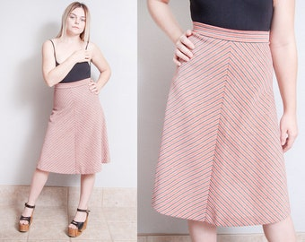 Vintage 1970's | Striped | A Line | Skirt | XS