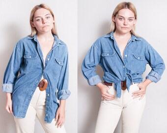 Vintage 1990's | J CREW | Denim | Unisex | 100% Cotton | Button Down | Shirt | M