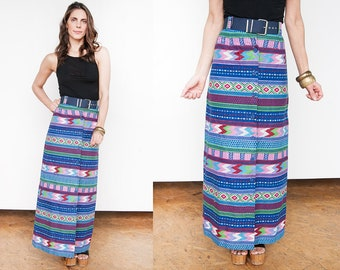 ON SALE - Free Shipping - Vintage 1970's | Bright | Colorful | Southwestern | Maxi | Skirt | XS