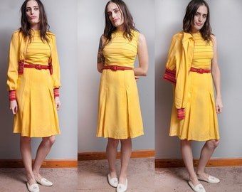 Vintage 1960's | Peck & Peck | 3 Piece  | Yellow | Striped | Mod | Outfit | Dress Jacket Belt | XS