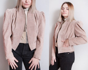 Vintage 1970's | Blush | Soft Suede | Leather | Princess Sleeves | Cropped | Fitted | Jacket | S/M