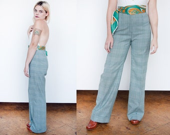 Vintage 1970's | Green | Plaid | Wide Leg | High Waist | Pants | XS/S