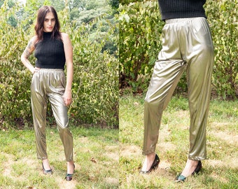 Vintage 1970's | Silver | Metallic | Disco | Pants | XS