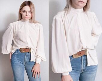 Vintage 1970's/1980's | Anne Klein | Ivory | Button Down | Minimalist | Bishop Sleeve | Blouse | M/L or OS