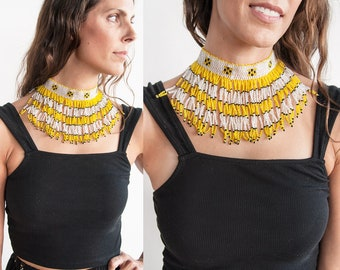 Vintage 1970's | Yellow Black & White | Seed Bead | Collar | Choker | Boho | Necklace