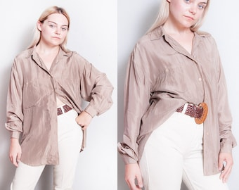 Vintage 1990's | OS | 100% Silk | Button Down | Minimalist | Blouse | OS or SML