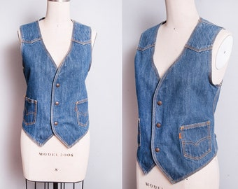 Vintage 1970's | LEVI'S | Orange Tab | Medium Wash | Denim | Jean | Unisex | Vest | M