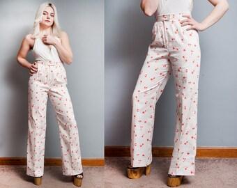 Vintage 1970's | White | Floral | High Waist | Wide Leg | Cotton | Pants | S