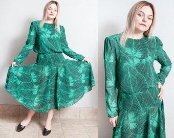 Vintage 1980's | Green | Palm Leaf Motif | Printed | Patterned | Midi | Dress | S/M