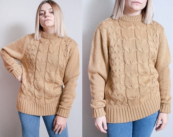 Vintage 1970's/1980's | Unisex | Pullover | Cable Knit | Sweater | M