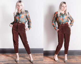 Vintage 1990's | ESCADA | Brown | Velvet | Cropped | High Waist | Pants | S