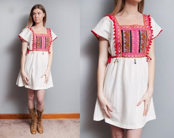 Vintage | Ethnic | Heavily Embellished | Peasant | Boho | Cotton | Mini | Dress | L/XL